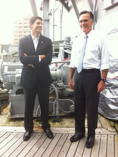 """Mitt and VP nominee Paul Ryan before the first event on the """"Romney Plan for a Stronger Middle Class Bus Tour"""""""