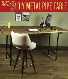 Rustic Furniture Tutorial | Workbench Plans | DIY Pipe Leg Table #DIYready www.diyready.com