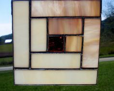 Stained Glass Quilt Block  (LOG CABIN)  Pattern Design Tan Brown White