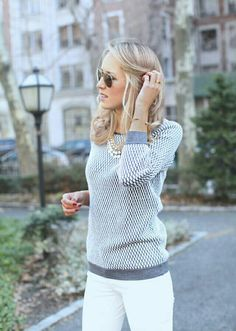 Textured sweater, necklace