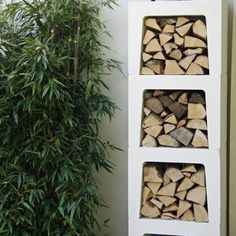 Wood Storage of Concrete U-Elements - Storage . Outdoor Garden Furniture, Outdoor Rooms, Outdoor Living, Back Gardens, Outdoor Gardens, Love Garden, Home And Garden, Outdoor Firewood Rack, Firewood Storage