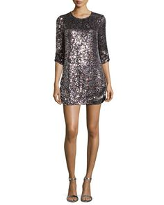 Petra 3/4-Sleeve Sequined Shift Dress by Parker Black at Neiman Marcus.