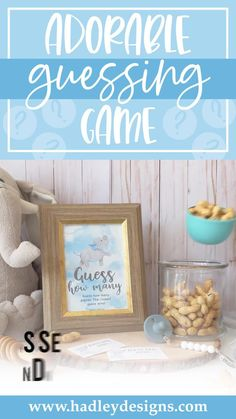 Give your little guy the perfect party! These baby elephant guessing jar cards are just what you need to make your party a hit. These watercolor cloud birthday or baby boy shower games; light blue guess how many kisses in the jar cards and sign, baby shower decorations boy, must have baby shower party supplies, guess how many baby shower games for boys, kids birthday party games for kids, guessing games, baby shower ideas, party games, guess how many kisses game, baby shower supplies, sip n see Baby Shower Guessing Game, Easy Baby Shower Games, Baby Shower Candy, Guessing Games, Baby Shower Activities, Boy Shower, Gender Reveal Party Supplies, Baby Gender Reveal Party, Baby Shower Party Supplies