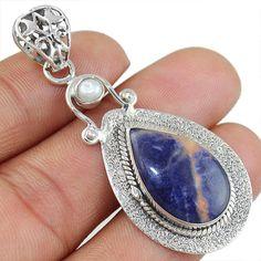 Orange Sodalite & Pearl 925 Sterling Silver Pendant Allison Co Jewelry P-6880 #Allisonsilverco