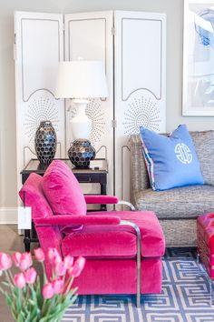 @psstudio High Point Market - CR Laine - Tobi Fairley - hot pink velvet chair - www.pencilshavingsstudio.com