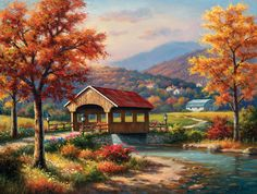 Top selection of 2020 Covered Bridge Painting, Home & Garden, Cellphones & Telecommunications, Home Improvement and more for Experience premium global shopping and excellent price-for-value on top goods on AliExpress! Landscape Art, Landscape Paintings, Belle Image Nature, Sunsout Puzzles, Bridge Painting, Fall Pictures, Country Art, Covered Bridges, Country Scenes