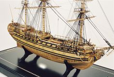 "USS Bonhomme Richard By: Alain Benoit  Buit as the Duc de Duras in 1765, the former Indiaman of the French East India Companywas lent by Louis XVI to John Paul Jones of the American navy and renamed. She sank of Hamborough Head after defeating the HMS Serapis in 1779.  Scale: 1/8"" = 1' Size: 32"" x 13 3/4"" x 26 ./4"""