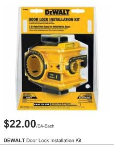 The DEWALT Door Lock Installation Kit helps you install door locks on wood and metal doors. It works for in. backsets, and in. It features two bi-metal hole saws and a height alignment window for accuracy. Woodworking Jigs, Woodworking Projects, Intarsia Woodworking, Wood Projects, Replacing Interior Doors, Garage Atelier, Dewalt Tools, Garage Tools, Wood Working For Beginners