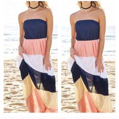 HOST PICK Beautiful Maxi! Light summer colors and design for the summer season! Gorgeous Maxi! The coral is definitely making the dress more beautiful. Dresses Maxi