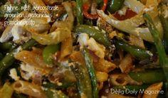 Penne met geroosterde groenten, geitenkaas en pistachepesto