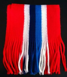 Red Navy White and Blue Stripe Scarf. Scarf is wide and Long. Striped Scarves, Blue Stripes, Navy And White, 1970s, England, Detail, Easy, Red, Stuff To Buy