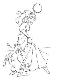 Esmeralda & her goat Djali Coloring Page Printable Adult Coloring Pages, Cute Coloring Pages, Cartoon Coloring Pages, Coloring Books, Kids Coloring, Disney Mural, Disney Pixar, Disney Art, Disney Princess Coloring Pages