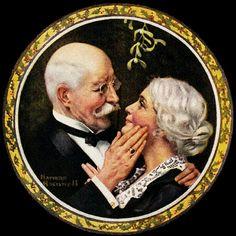 """Under The Mistletoe"", 1919 By Norman Rockwell,  American, 1894 - 1978  _____________________________ Why do we kiss under the mistletoe?  http://www.theguardian.com/science/grrlscientist/2013/dec/24/grrlscientist-mistletoe-kissing-myths   http://wonderopolis.org/wonder/why-do-people-kiss-under-mistletoe/"