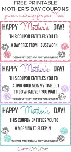 This is what moms REALLY want for Mother's Day! Some of the most meaningful gifts are the ones from the heart that don't cost very much.  These will make treating that special mom in your life easy and fun! Free Printable Mother's Day Coupons