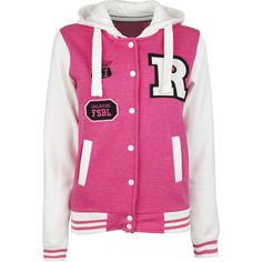 Pink College Sweat Jacket ($12) ❤ liked on Polyvore featuring outerwear, jackets, tops, shirts, varsity jackets, teddy jacket, studded varsity jacket, fleece lined hooded jacket, pink letterman jacket and pocket jacket