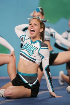 Cheer Clothes, Cheer Outfits, Great White Sharks Cheer, Cambridge, Cool Cheer Stunts, Cheer Team Pictures, Cheerleading Photos, Cheer Uniforms, Cheer Stuff