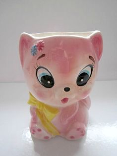 Vintage Kitten Planter Ceramic Pink Kitty E O by Thetrinketsden, $25.00