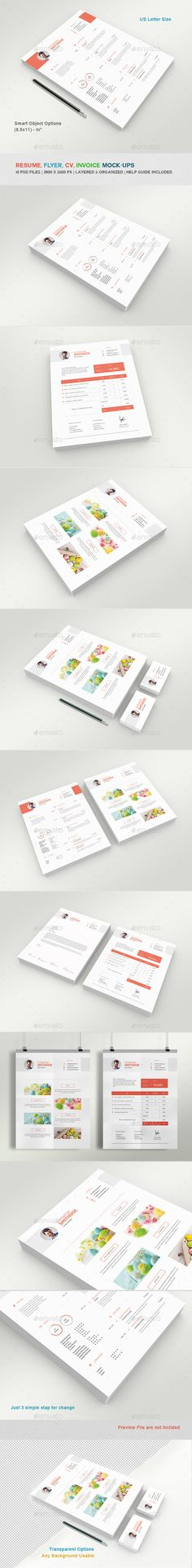 PSD Resume - Flyer - Invoice And Letterhead Mockups  Template • Only available here ➝ http://graphicriver.net/item/resume-flyer-invoice-and-letterhead-mockups/11429064?ref=pxcr