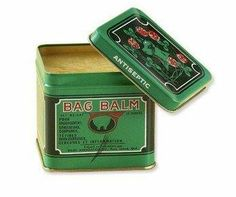 Bag Balm. It contains a mild antiseptic, which inhibits bacteria growth, so when it is applied to cuts, scrapes, or abrasions, it helps heal the skin quickly. This is partly why it's so great for healing the fissures of severely chapped hands. Applied to fingernails - it heals brittle and splitting nails.