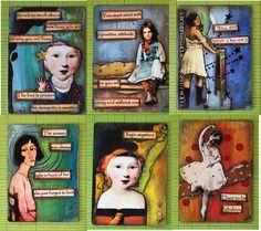 Batch two.  Mixed media with quotes over playing cards. Created at Artful Gathering through on-line class with Mary Jane Chadbourne. Just a small portion of 4 decks made.