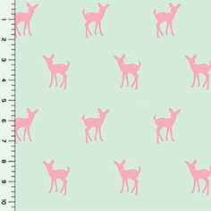 Fawn Silhouette on Mint Cotton Jersey Blend Knit Fabric