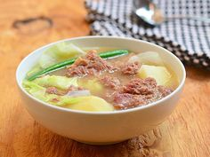 corned beef nilaga is a Filipino style boiled soup that uses canned corned beef as the meat Canned Corned Beef Recipe, Corned Beef Soup, Pork Soup, Corned Beef Recipes, Slow Cooked Beef, Meat Recipes, Asian Recipes, Ethnic Recipes, Cooker Recipes