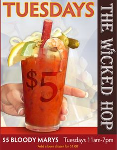 Best Bloody Mary - includes a shrimp, slim jim, lemon, lime, pickle, cheese strings - http://www.thewickedhop.com/    The Wicked Hop - Milwaukee