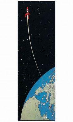 """HERGE . TINTIN  - Plaque Émaillée """" La Fusée quittant la Terre"""""""