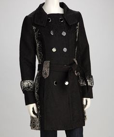 Take a look at this Black & Gray Peacoat by Papillon Imports on #zulily today!