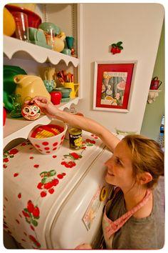 Johanna Parker in her vintage style kitchen