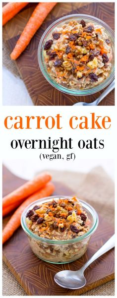 Carrot Cake Overnight Oats - easy, festive breakfast for Easter morning! Vegan carrot cake overnight oats are sweet, creamy and packed with veggies! The Easter Bunny would be proud. Oats Recipes, Whole Food Recipes, Vegan Recipes, Cooking Recipes, Freezer Recipes, Freezer Cooking, Simple Recipes, Cooking Tips, Breakfast And Brunch