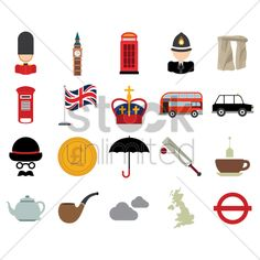 collection of united kingdom icons Stock Vector