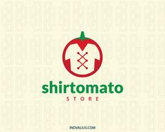 Shirt Tomato is a logo in the shape of a tomato composed of a shirt in the negative space.(fashion, tomato, shirt, look, designing, green, vegetables, organic, decorative, legume, shirts online, shirt store, shirt design, logo for sale, logo design, logo, logotipo).