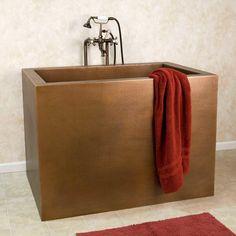 "48"" Amery Rectangular Hammered Copper Japanese Soaking Tub - Bathroom 4.4k"