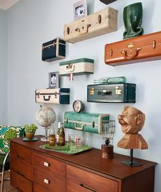 You Can Do it Youself: How to Turn Suitcases into Wall Shelving
