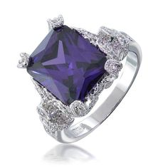 Bling Jewelry Desperate Housewives Inspired Silver Tone Amethyst Color Ring - jewelry rugs for men Purple Engagement Rings, Vintage Style Engagement Rings, Luxury Jewelry, Bling Jewelry, Bridal Jewelry, Jewellery, Jewelry Rings, Purple Rings, Color Ring
