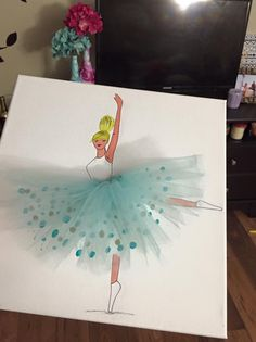 Ballerina Canavs Art With Tulle