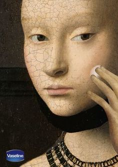 바세린을 바른 부분만 깨끗하게 표현하여 바세린을 바르면 피부가 푸석푸석하지 않고 매끈해진다는 것을 표현한 광고