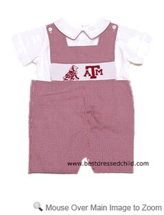 Vive la Fete Collegiate Boys Texas A Aggies Smocked Shortall with Shirt