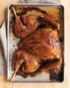 A spatchcocked turkey requires a slightly different carving technique than a bird cooked the traditional way, but the basic approach remains the same: Remove the legs and wings, and then slice the breast meat.