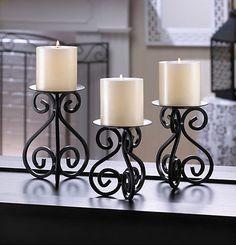 Candles SCROLLWORK CANDLE STAND TRIO Iron Metal Scroll Pillar Swirl