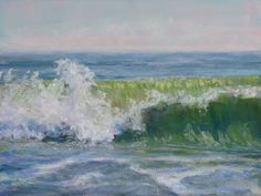 """""""Splash"""" 9x12"""" pastel from a photo I took while standing in the ocean at New Smyrna Beach FL. www.marshasavage.com"""