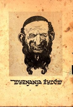 """Poland, A caricature of a Jew below which appears the caption in Polish: """"The Jewish Religion"""" . The caption is written in Hebrew-styled Polish letters. The Jews are accused of being responsible for the Russian Revolution of 1919."""