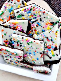 Cake Batter Chocolate Bark - you can use red and green sprinkles for the holidays!