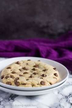 This giant chocolate chip cookie is thick, chewy, and perfect for when you don't want to bake up a whole batch!