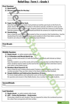 Relief Starter Pack - Grade 1 - Term 1 | Teaching Resources - Teach Starter