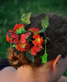 Red Butterfly Hair Accessory Fancy Hair Pin Bridal Prom Special Occasion Monarch Butterfly for Hair