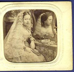 photo tinted tissue stereoview stereo bride superb lace wedding veil foto c 1860