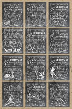 """12 - 20"""" x 24"""" Prints for each day representing the Twelve Days of Christmas - Great for large events or store windows for a downtown area!"""