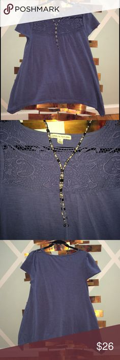 EUC- Carolyn Taylor Lace Detail Top Handkerchief cut, cotton with lace trim top. Sort of a dark periwinkle color. No flaws Carolyn Taylor Tops Tees - Short Sleeve